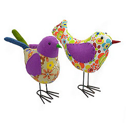Retro Fabric Birds, Set of 2