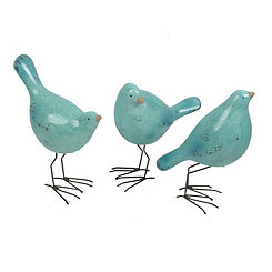 Blue Crackle Birds, Set of 3