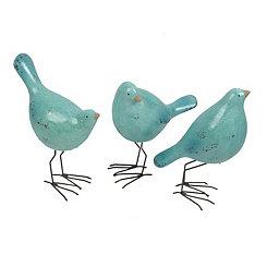 Blue Crackle Birds, Set of 3