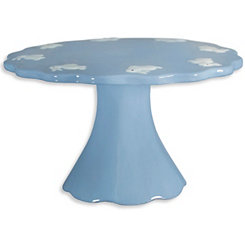 Blue Cake Stand with White Bunnies