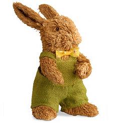 Brown Rabbit with Burlap Overalls, 11 in.