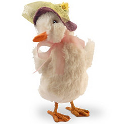 Faux Fur Duck with Bonnet, 11.6 in.