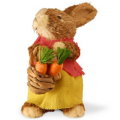 Brown Rabbit with Carrots, 9.6 in.