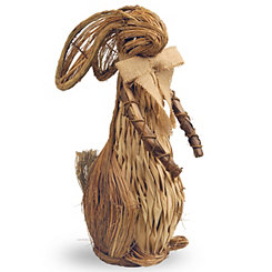 Natural Wood Bunny with Burlap Bow Tie, 20.5 in.