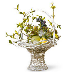 White Woven Basket with Hydrangeas and Easter Eggs
