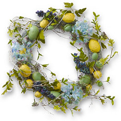 Woven Hydrangea and Easter Egg Wreath, 18 in.