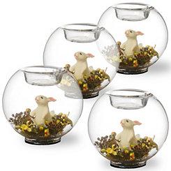 Glass Easter Terrarium Votive Holders, Set of 4