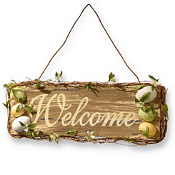 Wood Vine Welcome Sign with Easter Eggs