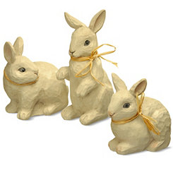 Ivory Rabbit Figurines with Bows, Set of 3