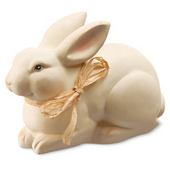 Painted Rabbit Figurine with Straw Bow