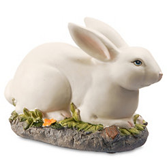 Painted Rabbit Figurine on Grass Patch