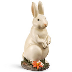 Painted Standing Rabbit Figurine on Grass Patch