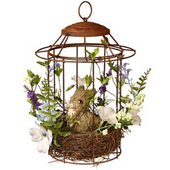 Woven Floral Bird Cage with Rabbit