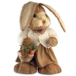 Natural Rabbit with Carrots Statue, 36 in.