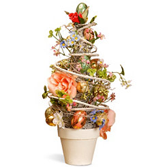Floral and Gold Foil Egg Tree, 20 in.