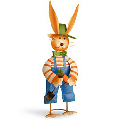 Metal Rabbit with Blue Overalls Statue, 27 in.