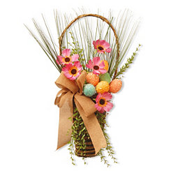 Tall Woven Basket with Glitter Eggs