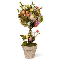 Floral and Gold Foil Egg Ball Topiary, 17 in.
