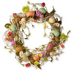 Multicolor Floral Easter Egg Wreath