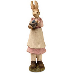 Hand-Painted Rabbit in Pink Dress Statue, 22 in.