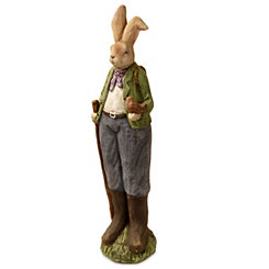 Hand-Painted Hiking Rabbit Statue, 25 in.