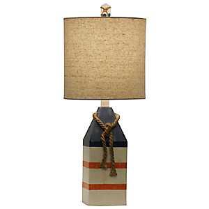 Anna Maria Blue and Orange Stripe Table Lamp