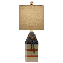 Anna Maria Blue and Orange Stripe Table Lamp