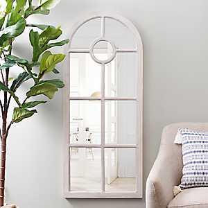 White Arch Windowpane Mirror, 23x55 in.
