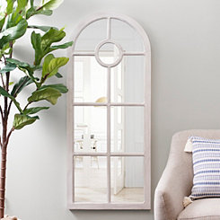White Arch Windowpane Mirror, 23x55 in.