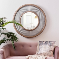 Round Galvanized Corrugated Wall Mirror