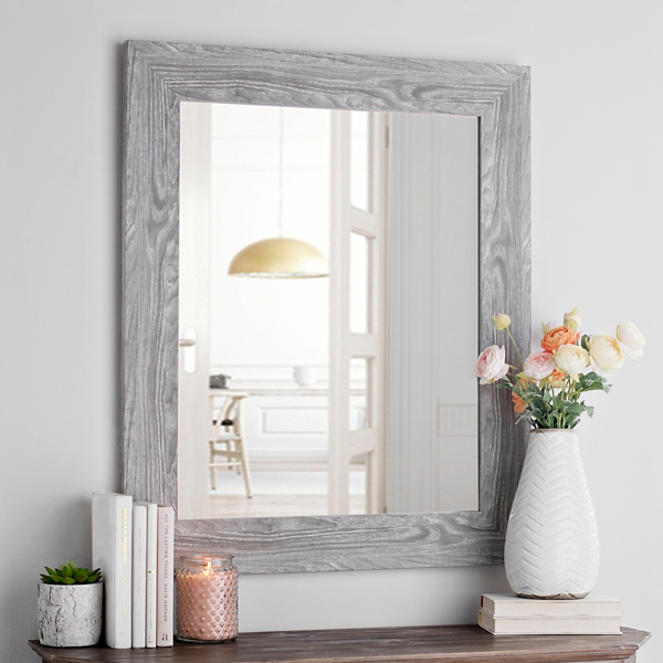 Gray Woodgrain Wall Mirror
