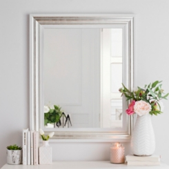 Brushed Silver Framed Mirror, 29.5x35.5 in.