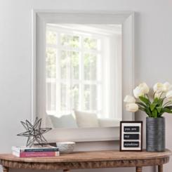 White Woodgrain Wall Mirror, 29.5x35.5 in.