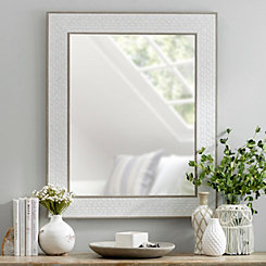 Stone Herringbone Framed Mirror, 30x36 in.
