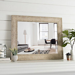 Weathered Wood Framed Wall Mirror, 29.5x35.5 in.