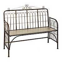 Galvanized Scroll Metal Outdoor Bench