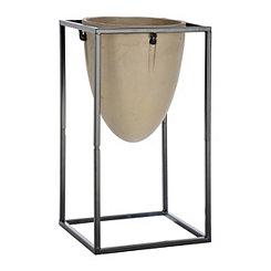 Oval Cement Planter with Black Stand, 15 in.