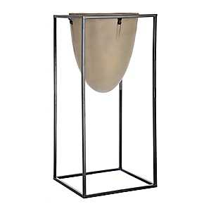 Oval Cement Planter with Black Stand, 17 in.