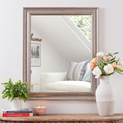 Antique Silver Ridge Wall Mirror, 27.5x33.5 in.