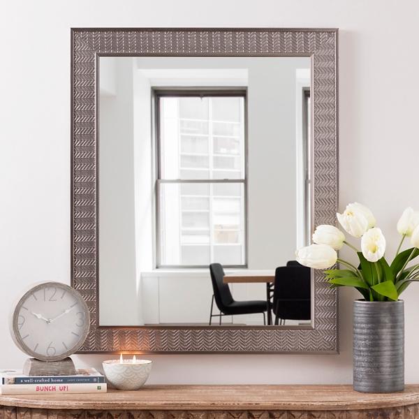 Great Antique Silver Herringbone Wall Mirror