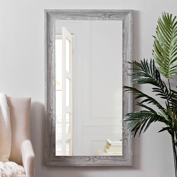 White Woodgrain Wall Mirror, 24x48