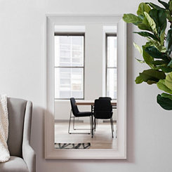 White Woodgrain Wall Mirror, 31.5x55.5 in.