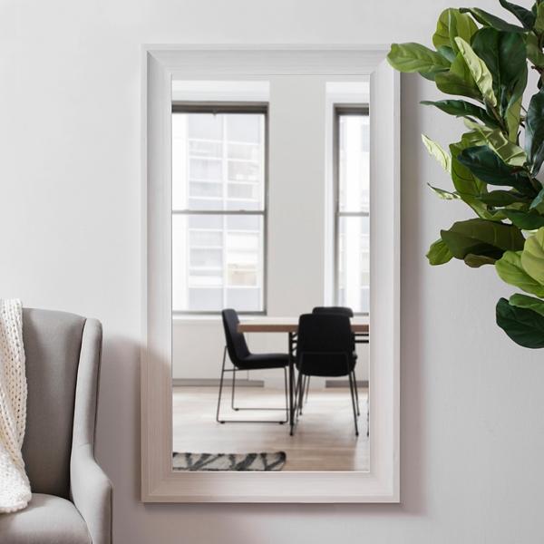 White Woodgrain Wall Mirror, 24x48