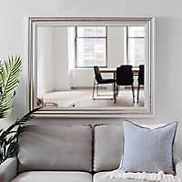 Silver and White Edge Framed Mirror, 37.5x47.5 in.