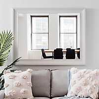 White Woodgrain Wall Mirror, 37.5x47.5 in.