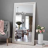 Silver and White Framed Mirror, 37.5x67.5 in.