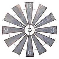 Galvanized Metal Windmill Wall Clock, 48 in.