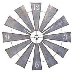 Galvanized Metal Windmill Wall Clock, 48 in.