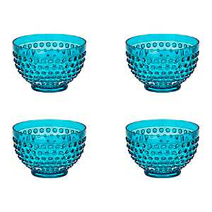 Teal Hobnail Acrylic Bowls, Set of 4