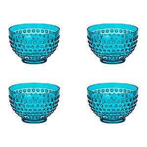 Teal Hobnail Acrylic Bowls, Set of 4